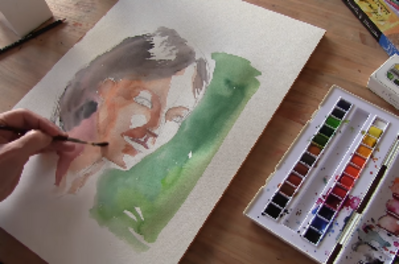 How to draft a face with watercolor?
